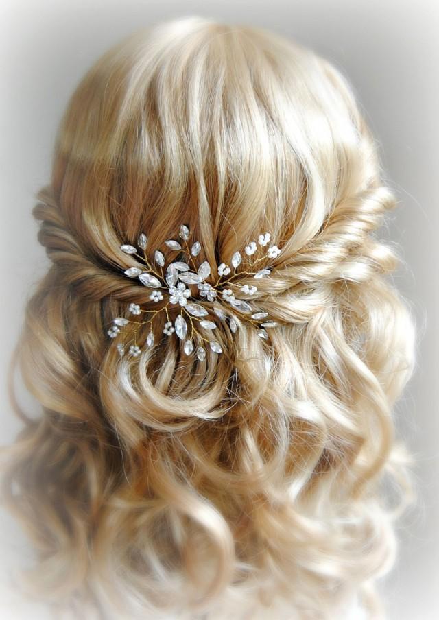Crystal And Pearl Hair Pins Gold Wedding Hair Pins