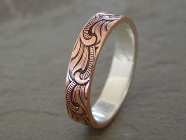 PAISLEY Silver Amp Copper 5mm Mens Wedding Ring Women