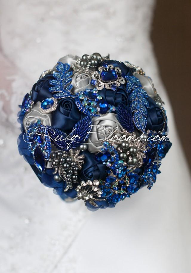 Silver Grey Royal Blue Wedding Brooch Bouquet Royal