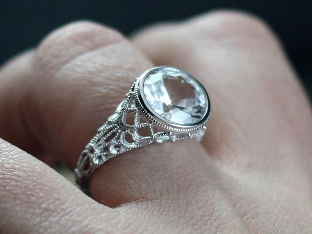 White Sapphire Engagement Ring Aegle Antique Style Bezel