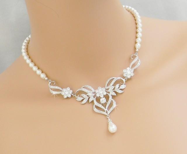 Bridal Necklace, Wedding Back Drop Necklace, Pearl Brical