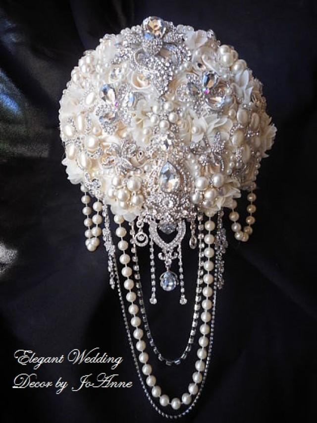 Ivory Cascading Pearl Brooch Bouquet Deposit For A Large
