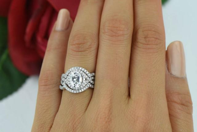 2 Ctw 3 Band Wedding Set Oval Gatsby Style Ring Halo