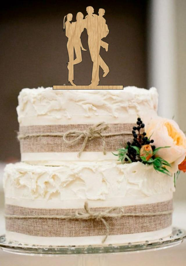 Family Wedding Cake TopperBride And Groom With Little