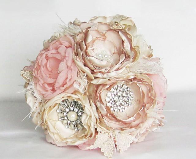 Fabric Flower Brooch Bouquet . Vintage Wedding . Ostrich
