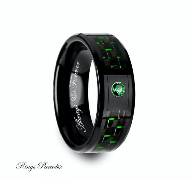Ceramic Ring Emerald Stone Mens Black Ceramic Ring Green