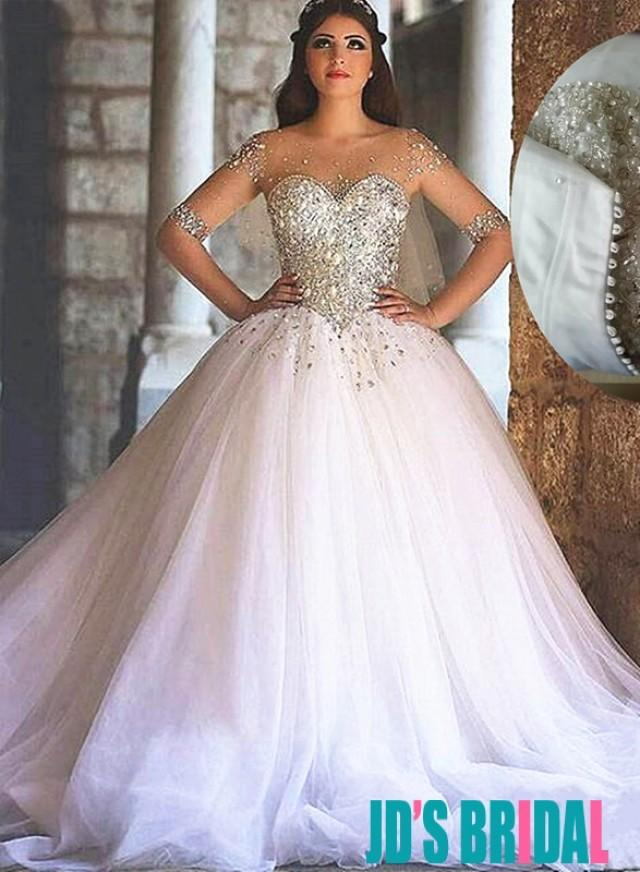 Sparkly Sweetheart Tulle Princess Wedding Dresses 2494235
