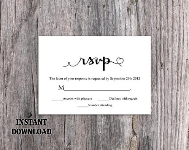 DIY Wedding RSVP Template Editable Word File Instant Download Heart Rsvp Template Printable RSVP