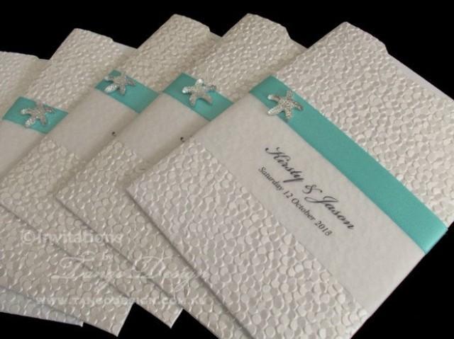 beach wedding invitations x24 with starfish and rsvp insert card handmade destination invitation pocket sleeve design 2518746 weddbook