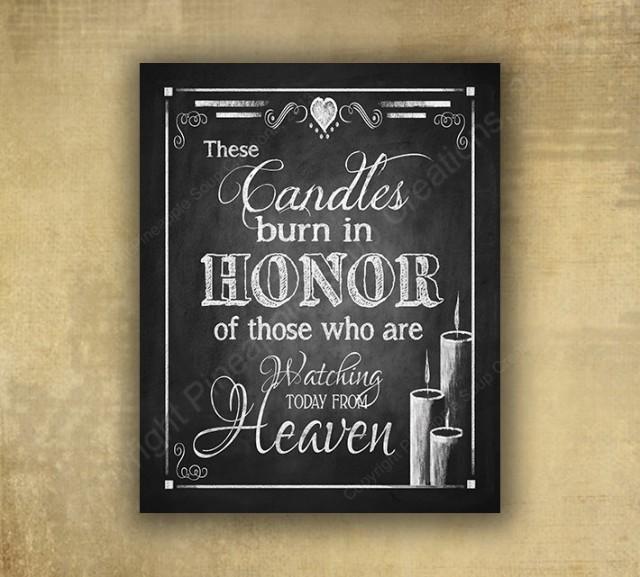 Download Memorial Candle Wedding Sign - PRINTED Chalkboard Wedding ...