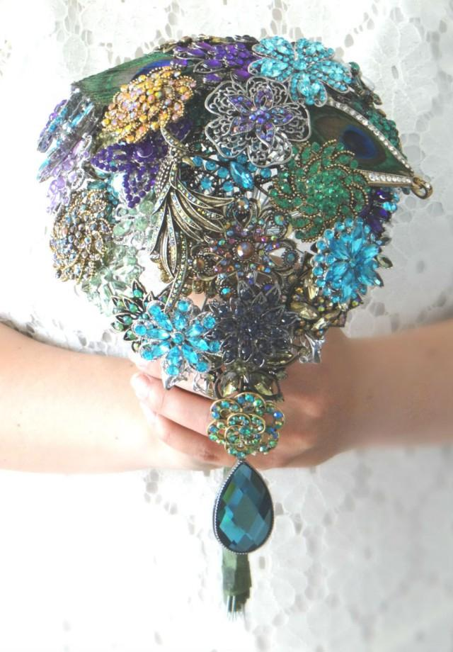 Cascading Peacock Brooch Bouquet With Real Peacock