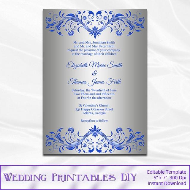 Silver Wedding Invitation Template