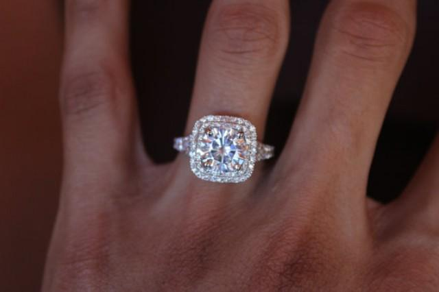 2 Carat Forever One Moissanite Double Halo Engagement Ring