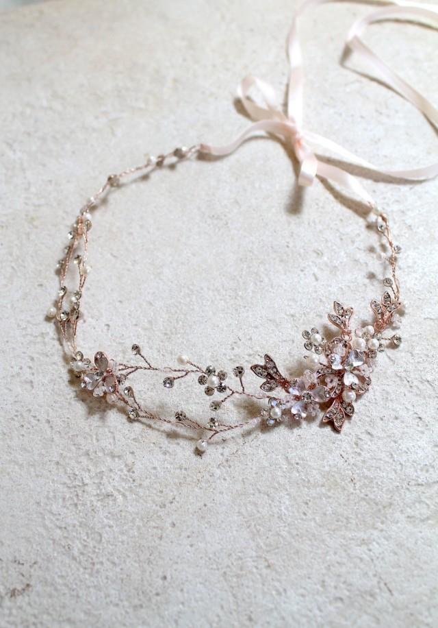 Rose Gold Leaf Vine Bridal Headpiece Boho Delicate