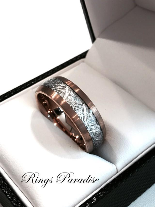 Brushed Meteorite Inlay Ring Engagement Rings His And