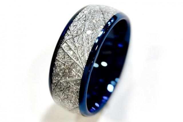 Blue Tungsten Wedding Bands Tungsten Rings Meteorite