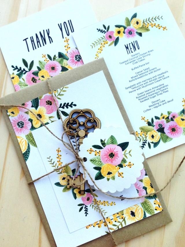 Printable Wedding Invitation Set Rsvp Thank You Card