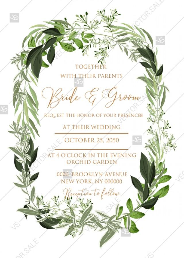 Wedding Invitation Wreath Greenery Herbal Template Edit