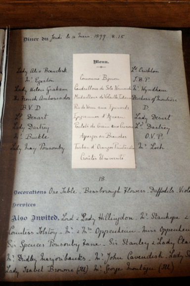Stansted Park - guest list and menu 1899
