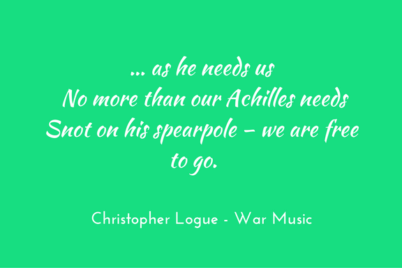 Christopher Logue - War Music - Homer - metaphor