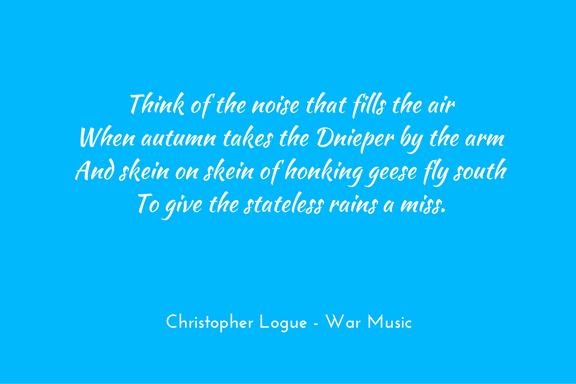 Christopher Logue - Warm Music - Homer - metaphor