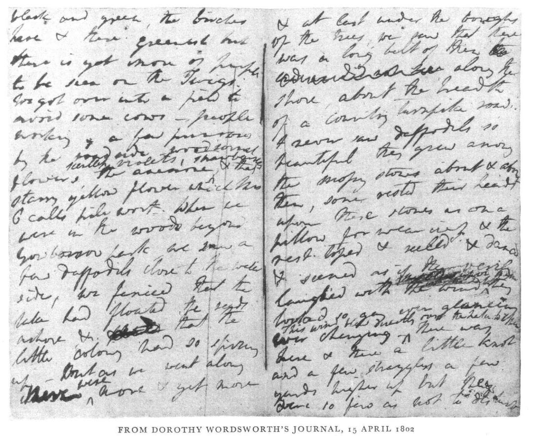 Handwriting - Dorothy Wordsworth Journals - April 1802