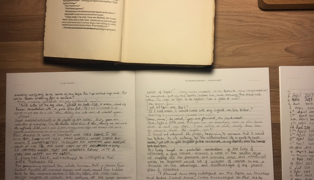 Clare Twomey - Wuthering Heights manuscript project - manuscript