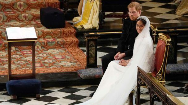 PHOTO: Prince Harry and Meghan Markle during their wedding at St. George's Chapel in Windsor Castle in Windsor, May 19, 2018. (Owen Humphreys/AP)