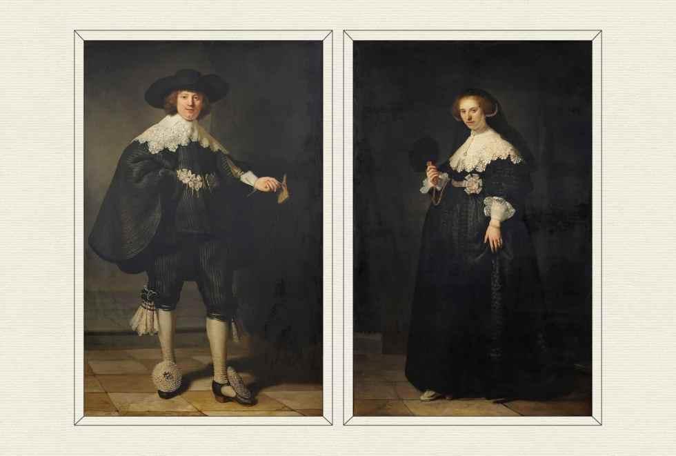 Pendant portraits of Maerten Soolmans and Oopjen Coppit, 1634, by Rembrandt van Rijn