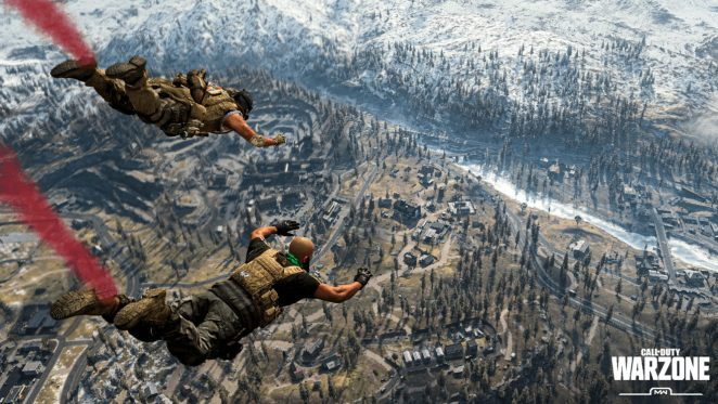 Players skydiving into the map in Warzone