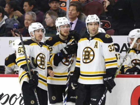 Brad Marchand David Pastrnak Patrice Bergeron Bruins