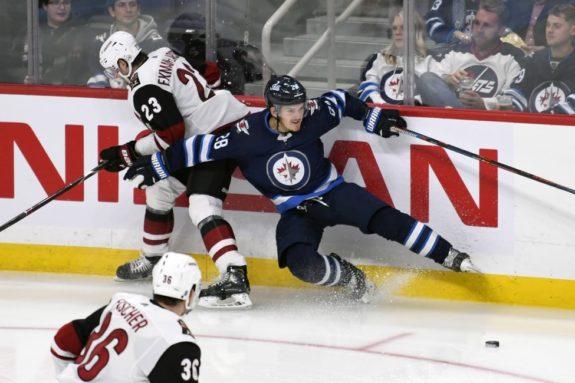 Winnipeg Jets' Jack Roslovic Arizona Coyotes' Oliver Ekman-Larsson