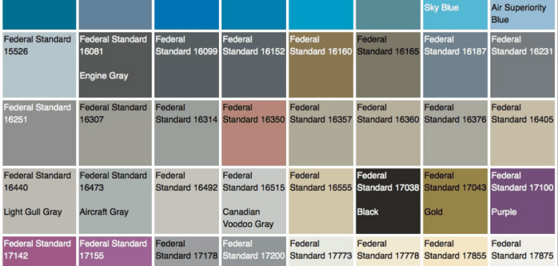Federal Standard 595b Color Chart Coloringsite