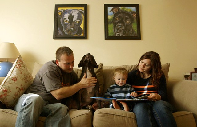 Vicktory dog Cherry sitting on a couch with his family who are reading to their child