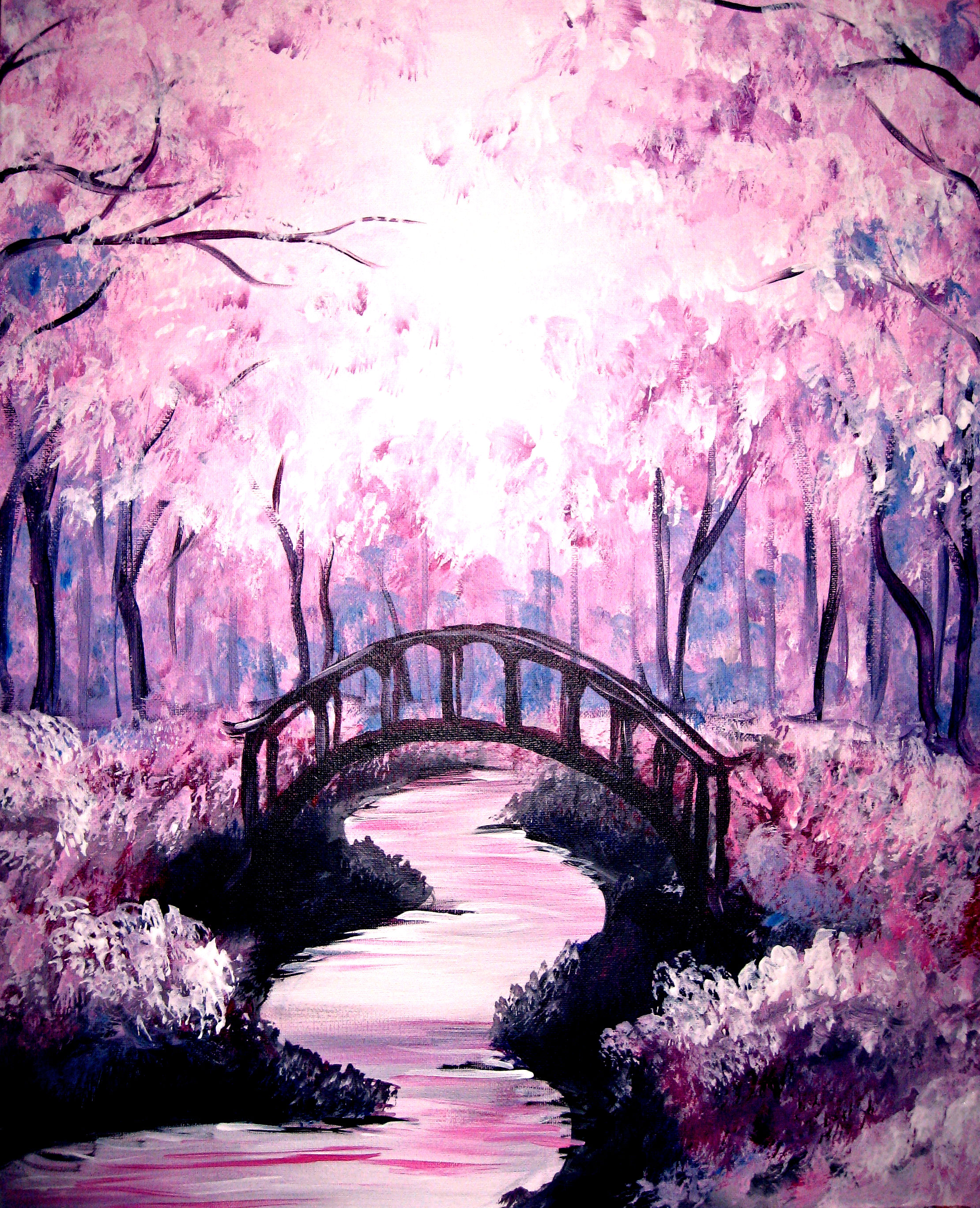 Learn To Paint Bridge Under The Cherry Blossoms