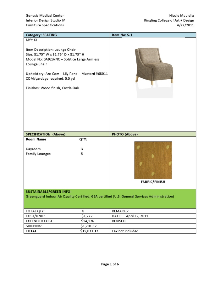 Furniture Specifications And Budget By Nicole Maulella At