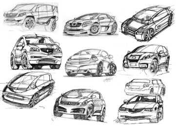 Freehand sketch of Automotive concept cars