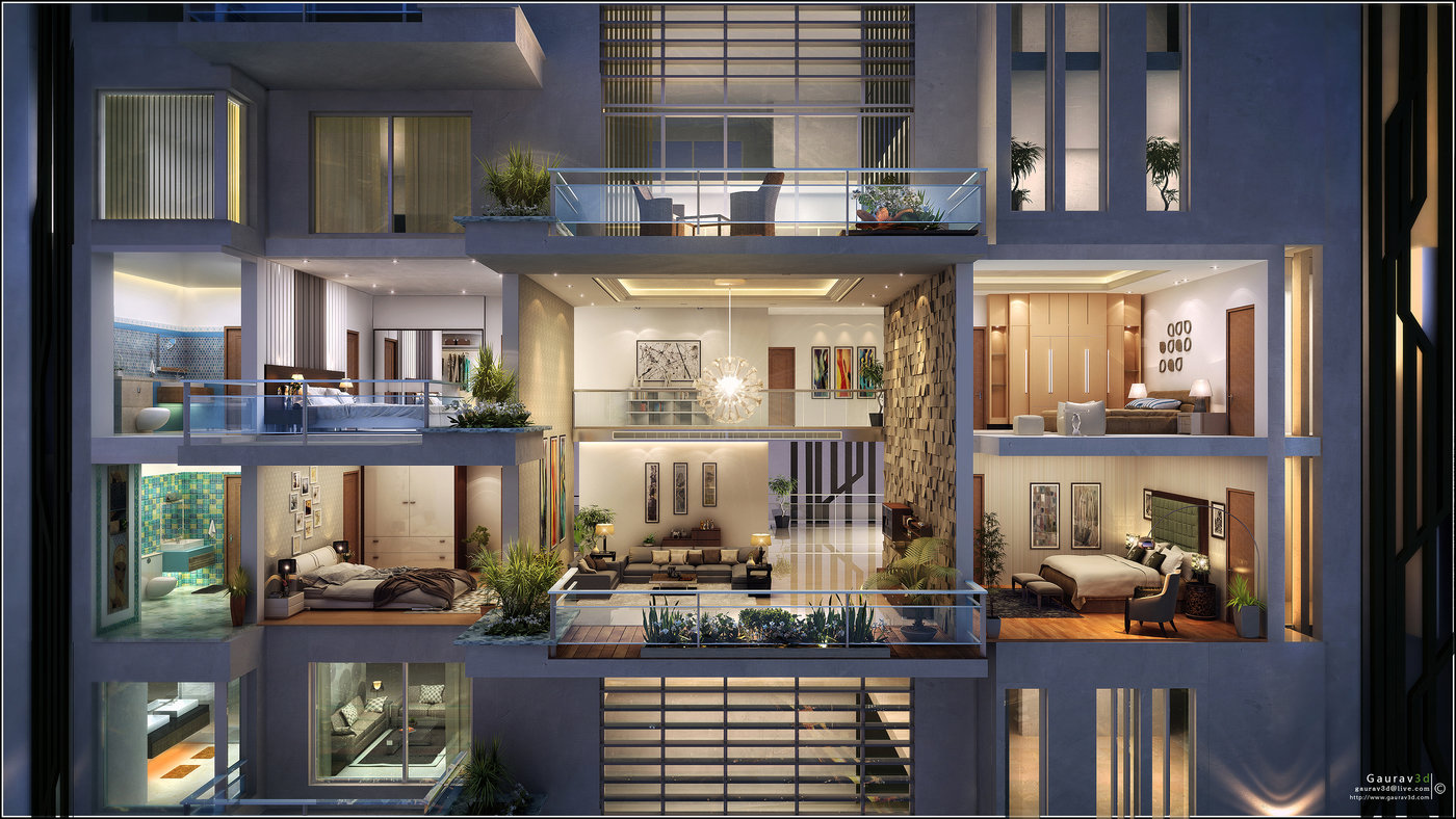 Cross Section By Gaurav 3d Architectural Visualisation At