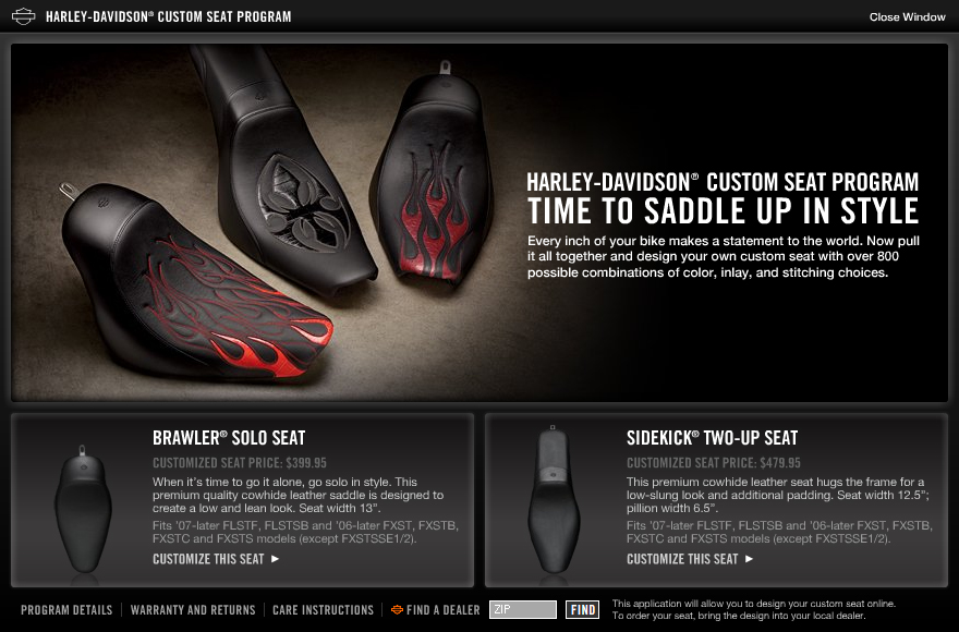 Harley Davidson Seat Program
