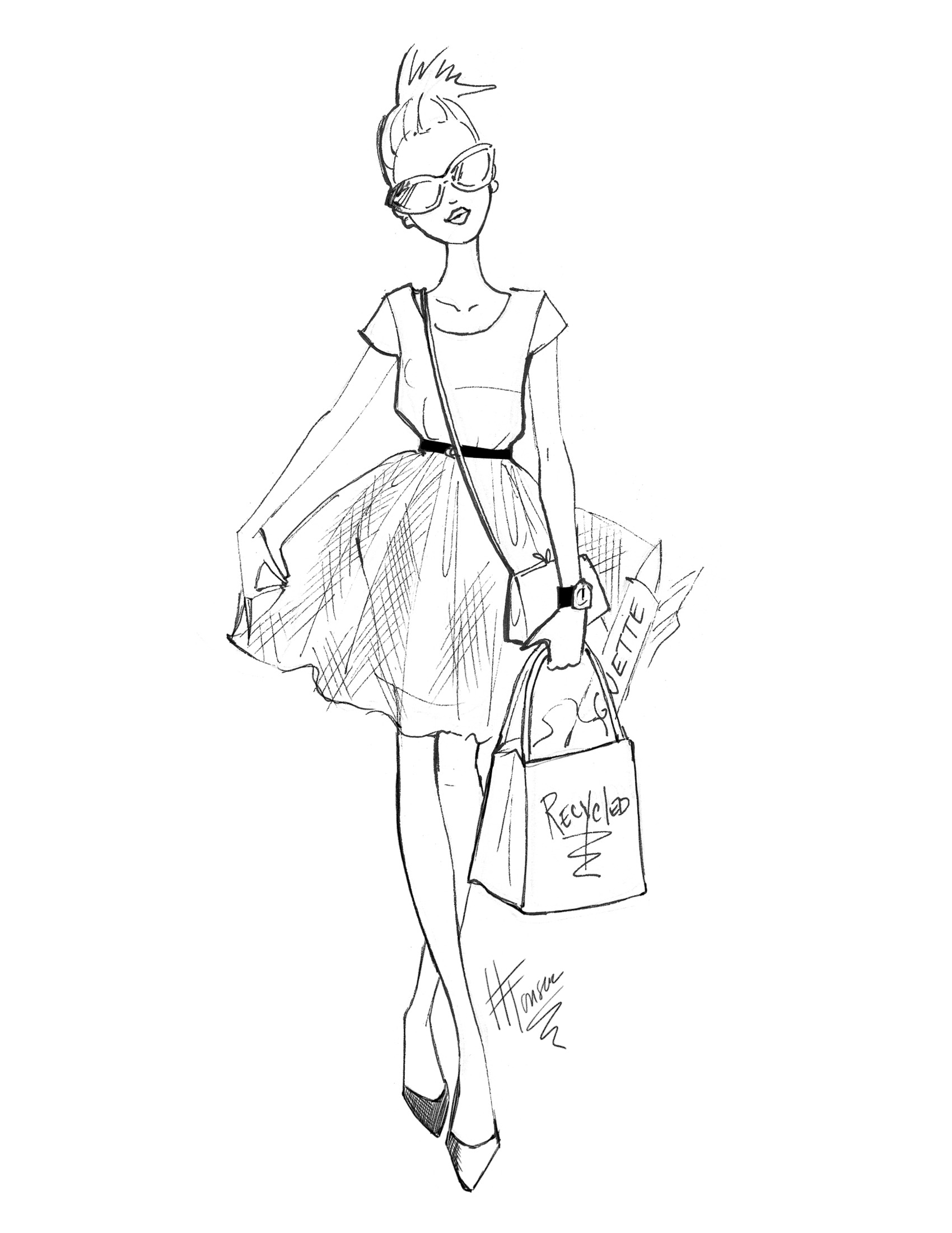 Black And White Fashion Sketches By Heather Fonseca At Coroflot