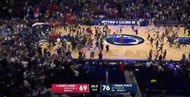 WATCH: Penn State fans storm the court after win over Maryland