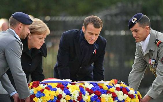 Image result for France and Germany Leaders at Poignant Show of Unity 100 Years after WW1