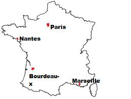 Mark On The Outline Map Of France Bourdeaux Nandis Paris Marseilles Social Science The French Revolution 12423091 Meritnation Com
