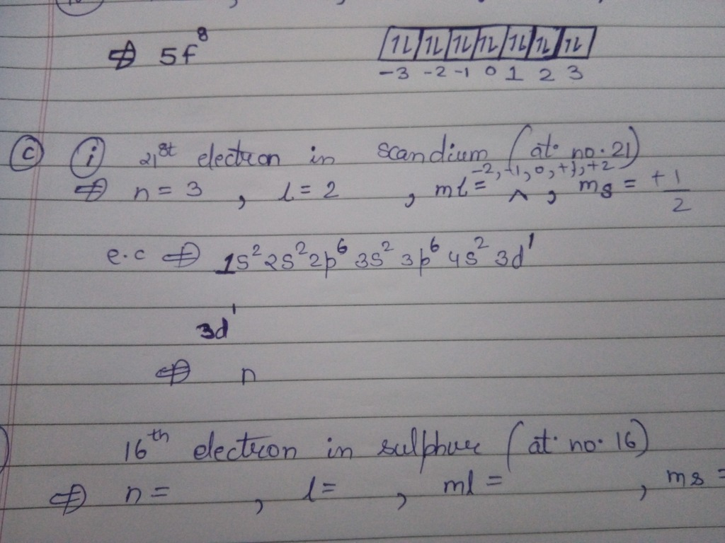 Write The Four Quantum Numbers For The 21st Electron In