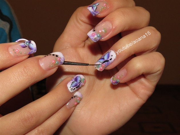 Dots Purple Flowers Nail Art Design