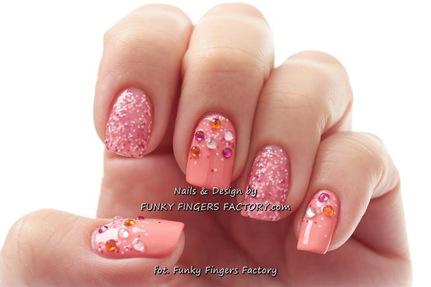 Black Nail Art Nails Peach
