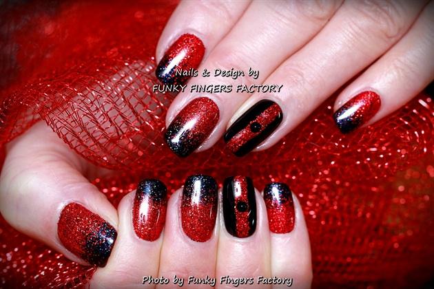 Gelish Black Red Glitter Christmas Nails