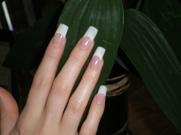 Acrylic Pink And White Sculpted Nail