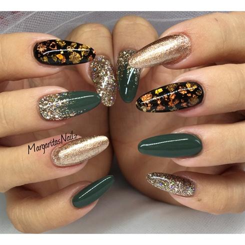 Sea Green Golden Nail Art Design You