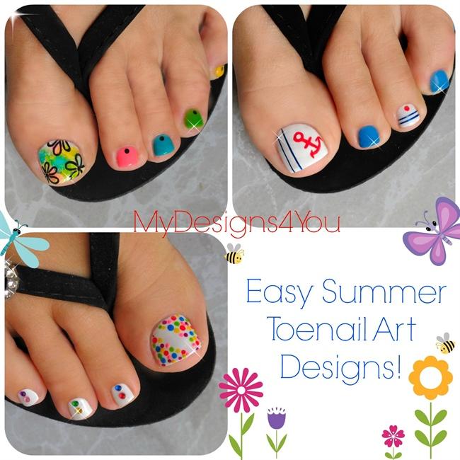 Awesome Black Summer Toe Nail Art Design Ideas